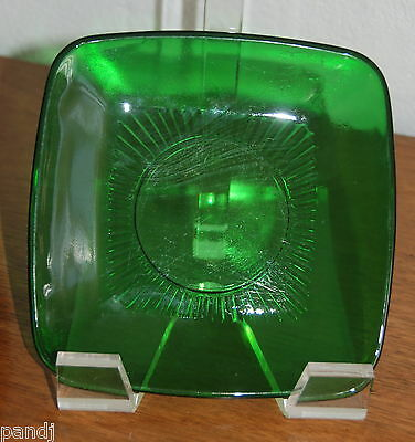 Anchor Hocking CHARM Forest Green DEPRESSION Glass Square Luncheon Plate