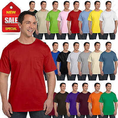 Hanes Mens Pocket T-Shirt 100% Heavy Cotton 6.1 oz Beefy Tee S-XL 5190P
