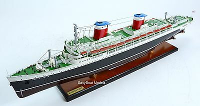 """SS United States Ocean Liner 34"""" with lights - Handmade Wooden Ship Model"""