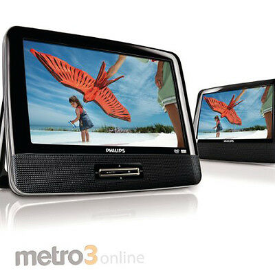 """9"""" Philips PD9012 Twin Dual Portable In Car DVD Player REGION FREE"""