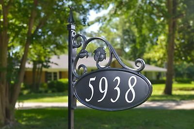 """Park Place Deco 52"""" Tall Reflective Address Yard Sign  911 Wrought Iron Look"""