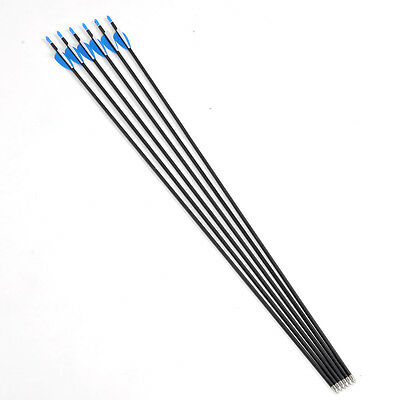 "32"" Carbon Arrows For Recurve Bow Plastic Feather Archery Hunting Tools 6 PCS"