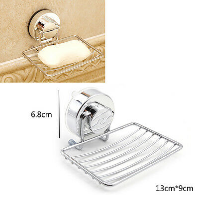 Stainless Steel Soap Dish Holder Rack Suction Basket Wall Home Bathroom Toilet