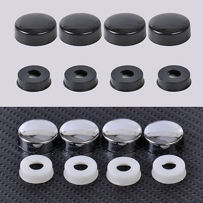 4x Car Truck License Plate Frame Security Screw Nut Cap + Bolt Caps Covers Set