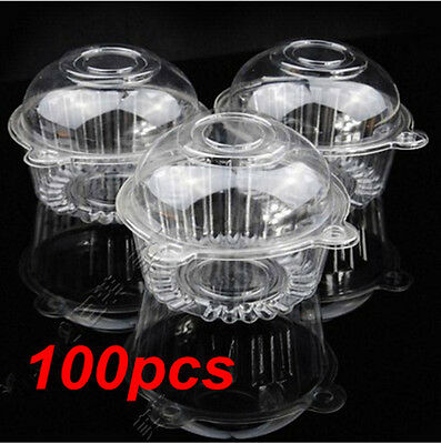 100 Big Plastic Single Cupcake Muffin Cases Pods Domes Cup Cake Boxes Holders