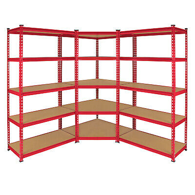 1 x Corner Racking Garage Shelving 2 x 90cm Bays Metal Heavy Duty MDF Shelves
