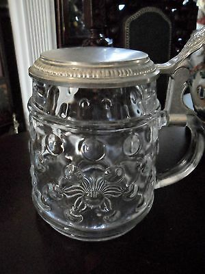 """BMF Bierseidel Bubble Glass Stein with Pewter Lid, Germany, 6"""" tall"""
