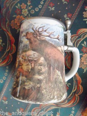 BMF German beer stein with lid, elk and forest transfer decorations
