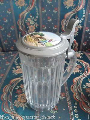 Glass Beer Stein  porcelain inlaid lid in pewter mounts, workers in the field