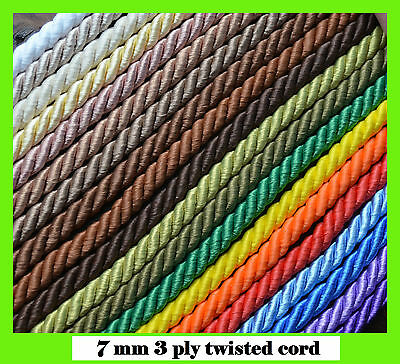 7 mm twisted cord rope braid bright colours craft jewellery soutache pipping
