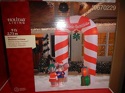 Christmas 9 ft Lighted Mistletoe Mice Archway Airblown Inflatable Holiday Living