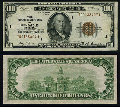 FR. 1890 I $100 1929 Federal Reserve Bank Note Minneapolis Very Fine