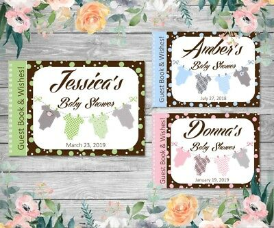 PERSONALISED BABY SHOWER GUEST BOOK WISHES - Green, Pink, Blue - Jumpsuit