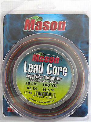 Mason Metered Lead Core Fishing Line 18# Test 200 Yards (2 Connected 10 Color)