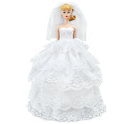 Handmade Doll Clothes White Wedding Dress Party Gown With Veil For Barbie Doll A