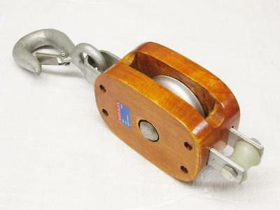 """0.6 Ton 4/"""" Double Wood Block With Hook 13MM Wire Rope Wooden"""