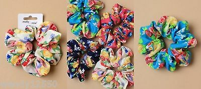 Pack Of 4 Bright Floral Print Fabric Scrunchies / Hair Bobble - Sp-6009 Pk4