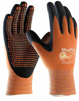 12 x Pairs ATG MaxiFlex Endurance 42-848 Nitrile Foam Work Gloves With MicroDots
