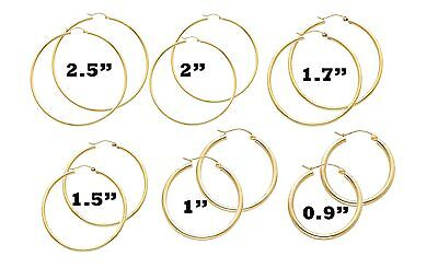 14k Solid Yellow Gold Small Medium Large Big Classic Hoops All Sizes