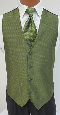Mens Olive Green Jean Yves Sterling Tuxedo Fullback Vest & Tie Wedding Formal