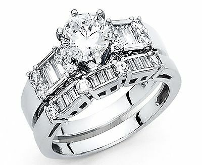 2.00 CT Round baguette Cut Engagement Ring band set Solid 14k White Gold Bridal