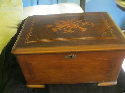 14 Inch By 7 Inch Inlaid Walnut Music Box Case With Handles