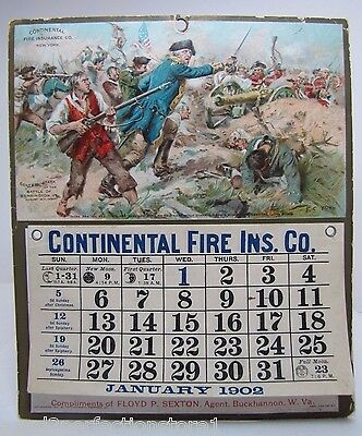 Orig 1902 Continental Fire Ins Co Advertising Calender Sign Floyd Sexton W Va