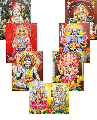 Wholesale Lot - 20 Hindu Gods and Goddess Glitter Posters : Size - 9x11 Inches