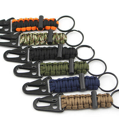 Outdoor Paracord Survival Camping Keychain Key ring Clip Flint Fire Starter Kit