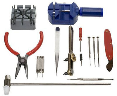16 Piece Watch Repair Tool Kit band link Removal+Case Opener+Pliers+Spring bar T