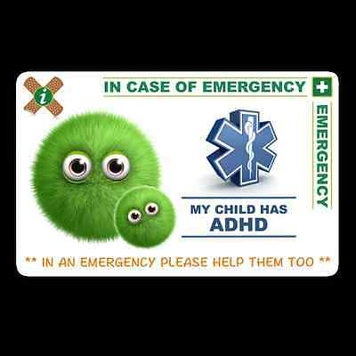 Medical In case of Emergency card My Child has ADHD
