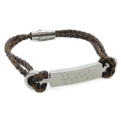 Personalised Engraved Leather & Stainless Steel ID Bracelet Mens Gift Birthday