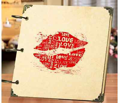DIY 30Pages 18x18cm SEXY KISS Kraft Cover 3-ring Photo Album Scrapbook