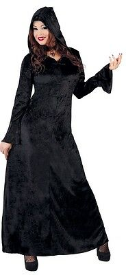 Ladies Sorceress Black Witch Gothic Halloween Fancy Dress Costume Outfit 14-18