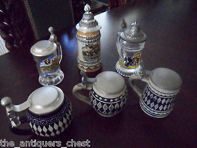 Collection of 6 mini steins, 3 pottery glaze and 3 glass[4-34]
