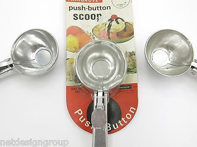 NEW (Old Overstock)Vintage 1982 Aluminum Push Button Ice Cream Scoops. Set of 3