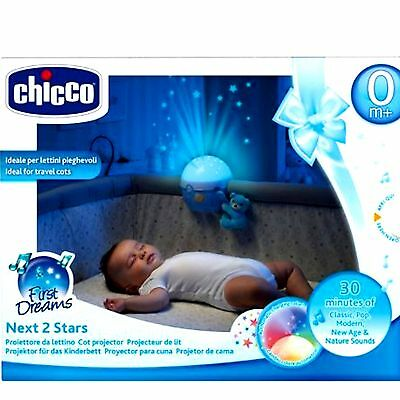 New Chicco Next 2 Stars Projector Light Blue Melodies Nightlight Projector
