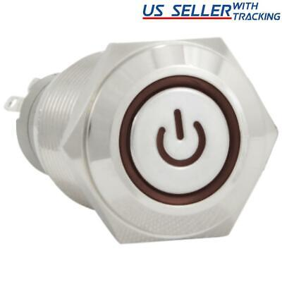 16mm 12V Latching Push Button Power Switch Aluminum Metal Red LED Waterproof