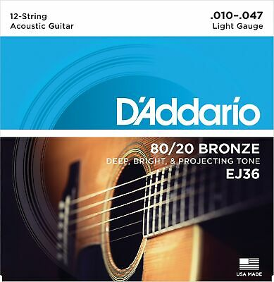 D'Addario 12-String Light 80/20 Bronze Acoustic Guitar Strings EJ36