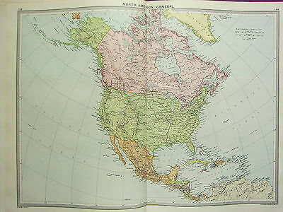 1920 LARGE MAP ~ NORTH AMERICA DOMINION OF CANADA UNITED STATES MEXICO CUBA etc