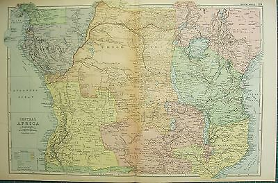 1894 Antique Map ~ Central Africa European Possessions Angola Congo State
