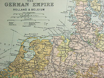 1905 Antique Map ~ German Empire With Holland & Belgium Berlin Metz Strasburg