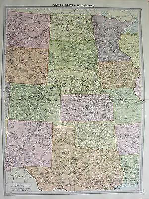 1920 Large Map ~ United States Central ~ Kansas Colorado Wyoming Nebraska