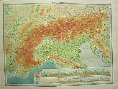 1920 Large Map ~ The Alps Physical Switzerland Land Heights Mountain Sections