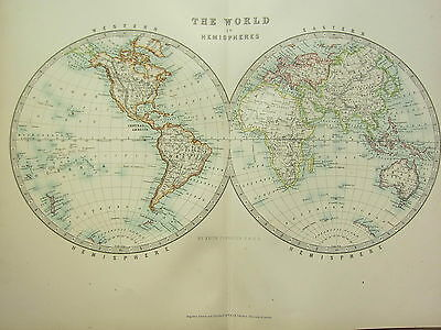 1896 Large Victorian Map World In Hemispheres Western & Eastern America Asia