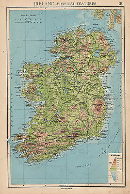 1942 Map ~ Ireland Physical Features Land Heights Central Plain Northern Ireland