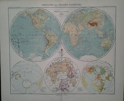 1907 Dated Map ~ The World In Various Hemispheres West East ~ Stieler Hand-Atlas