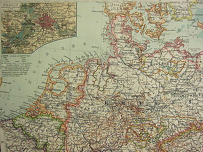1907 Dated Map ~ Northern Section Germany With States Wurtemberg Berlin Plan