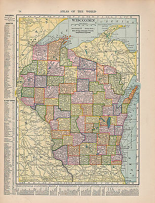 1909 Map ~ Wisconsin State Counties Cities-Towns Walworth Milwaukee Vernon