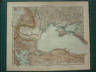1907 Dated Map ~ Russia Central West ~ Rumania Crimea Constantinople